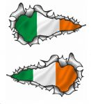 X-Large Long Pair Ripped Torn Metal Design With Ireland Irish IRL Flag Motif External Vinyl Car Sticker 300x170mm each